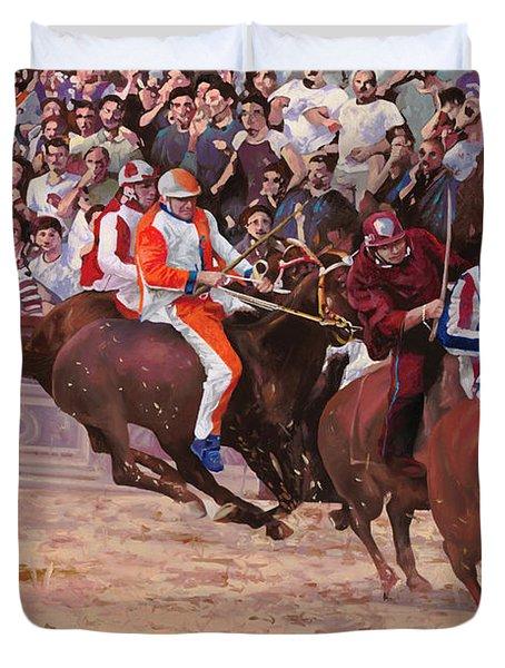 la corsa del palio Duvet Cover by Guido Borelli