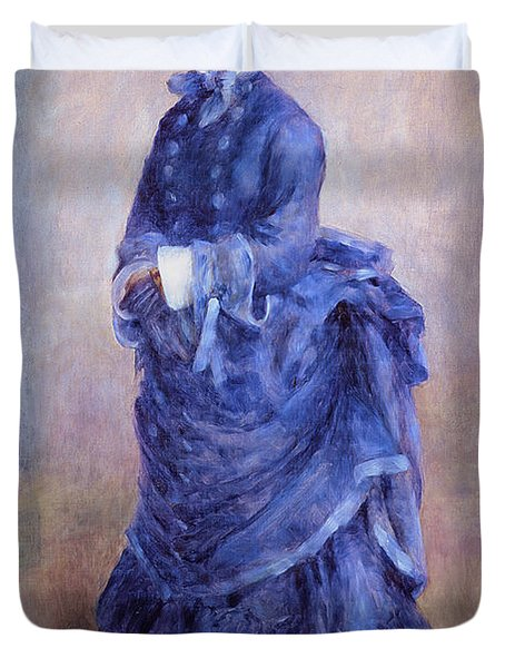 La Parisienne The Blue Lady  Duvet Cover by Pierre Auguste Renoir