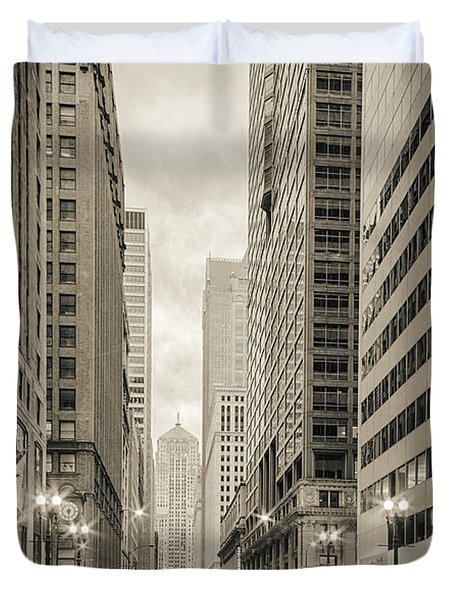 Lasalle Street Canyon With Chicago Board Of Trade Building At The South Side - Chicago Illinois Duvet Cover by Silvio Ligutti