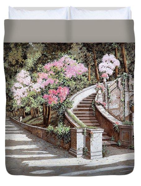 La Scalinata E I Fiori Rosa Duvet Cover by Guido Borelli