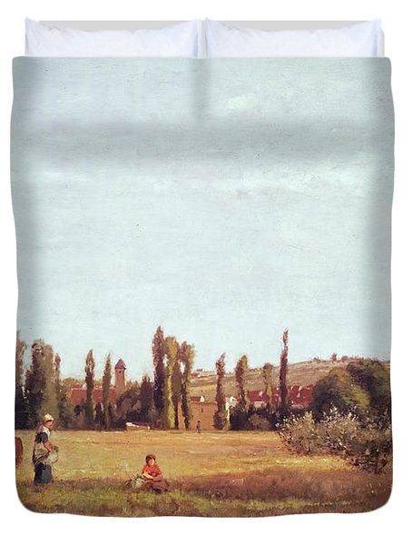 La Varenne De St. Hilaire Duvet Cover by Camille Pissarro