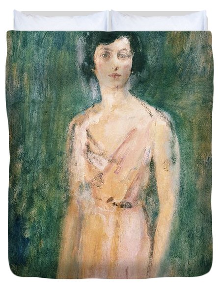 Lady In A Pink Dress Duvet Cover by Ambrose McEvoy