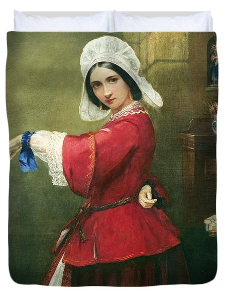 Lady In French Costume Duvet Cover by Edmund Harris Harden
