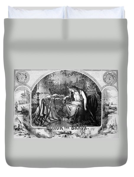 Lady Liberty Mourns During The Civil War Duvet Cover by War Is Hell Store