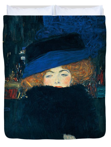 Lady With A Hat And A Feather Boa Duvet Cover by Gustav Klimt