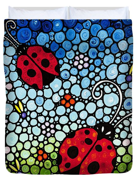 Ladybug Art - Joyous Ladies 2 - Sharon Cummings Duvet Cover by Sharon Cummings