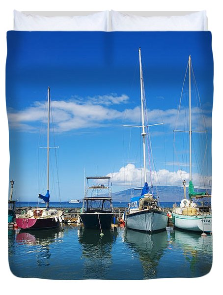 Lahaina in Blue Duvet Cover by Ron Dahlquist - Printscapes