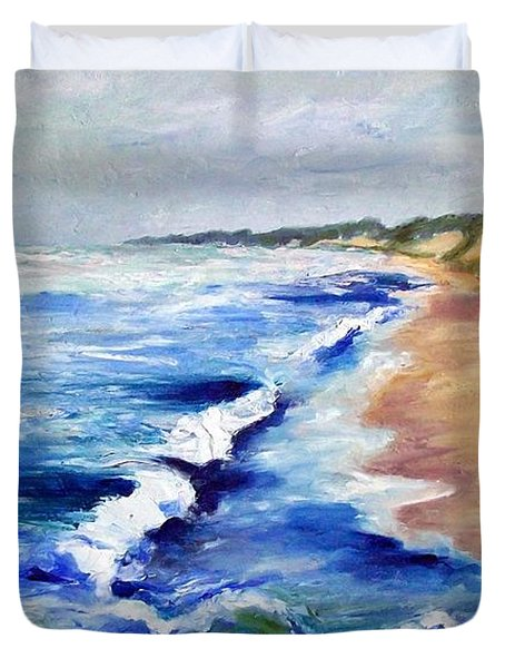 Lake Michigan Beach with Whitecaps Duvet Cover by Michelle Calkins