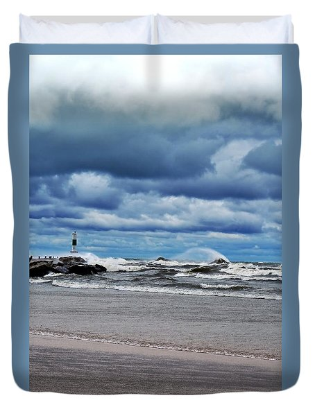 Lake Michigan With Big Wind  Duvet Cover by Michelle Calkins