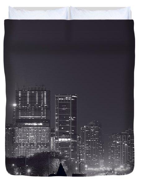 Lake Shore Drive Chicago B And W Duvet Cover by Steve Gadomski