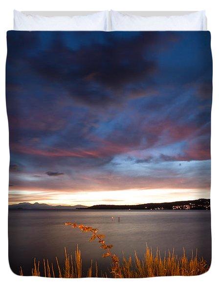 Lake Taupo Sunset Duvet Cover by Marc Garrido