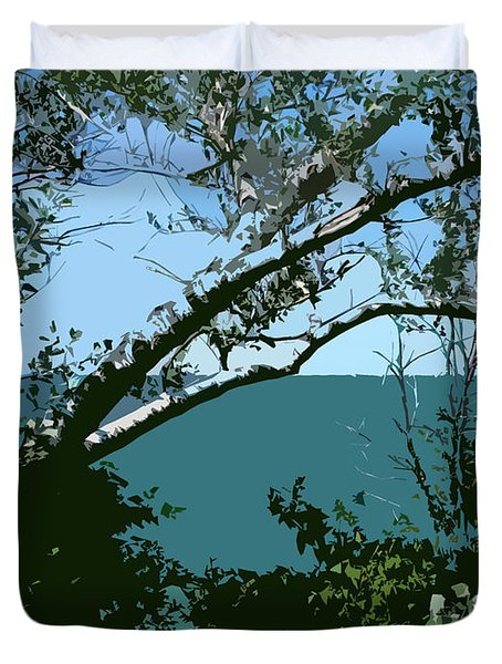Lake Through the Trees Duvet Cover by Michelle Calkins