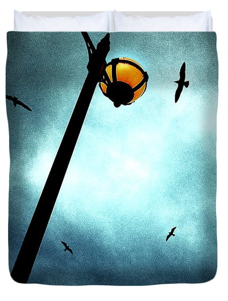 Lamps With Birds Duvet Cover by Meirion Matthias