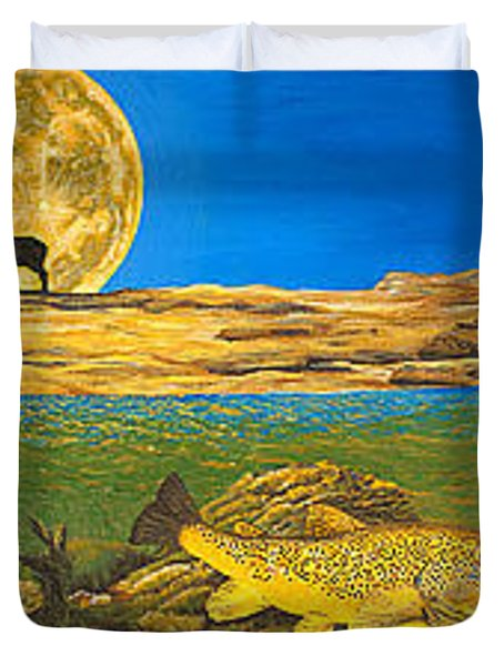 Landscape Art Fish Art Brown Trout Timing Bull Elk Full Moon Nature Contemporary Modern Decor Duvet Cover by Baslee Troutman