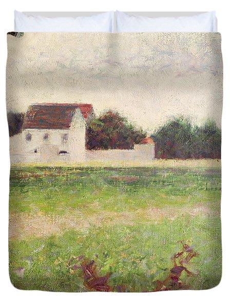 Landscape In The Ile De France Duvet Cover by Georges Pierre Seurat