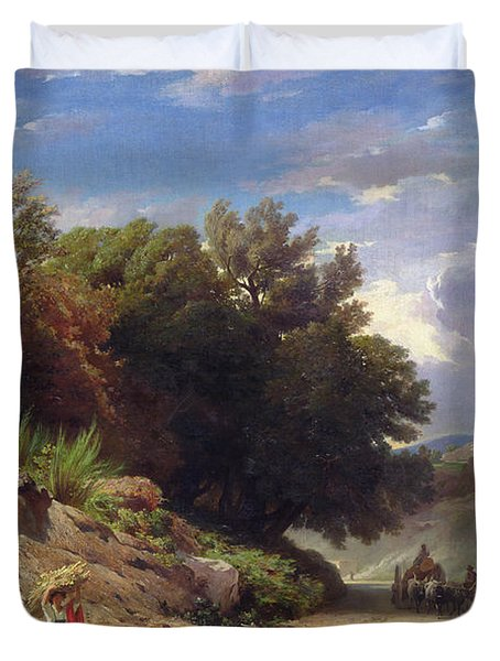 Landscape On The Outskirts Of Rome Duvet Cover by Jean Achille Benouville