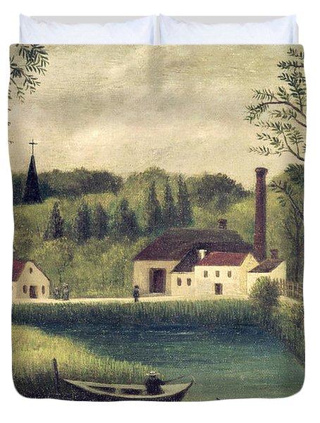 Landscape With A Fisherman Duvet Cover by Henri Rousseau