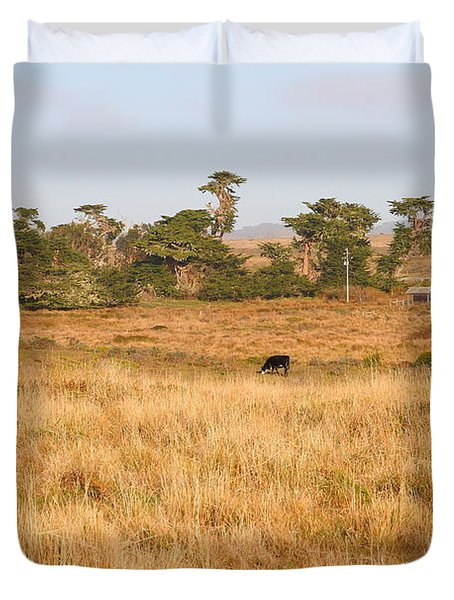 Landscape With Cows Grazing In The Field . 7D9957 Duvet Cover by Wingsdomain Art and Photography