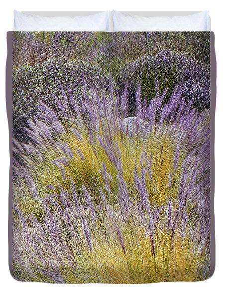 Landscape With Purple Grasses Duvet Cover by Ben and Raisa Gertsberg