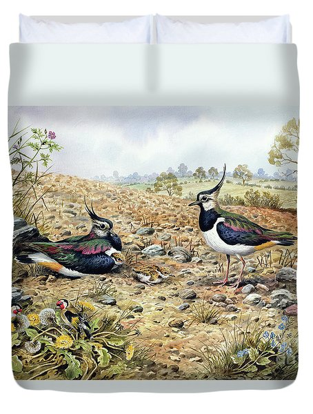 Lapwing Family With Goldfinches Duvet Cover by Carl Donner