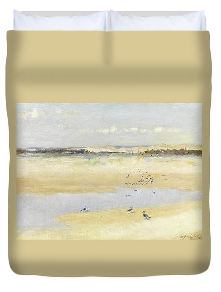 Lapwings By The Sea Duvet Cover by William James Laidlay