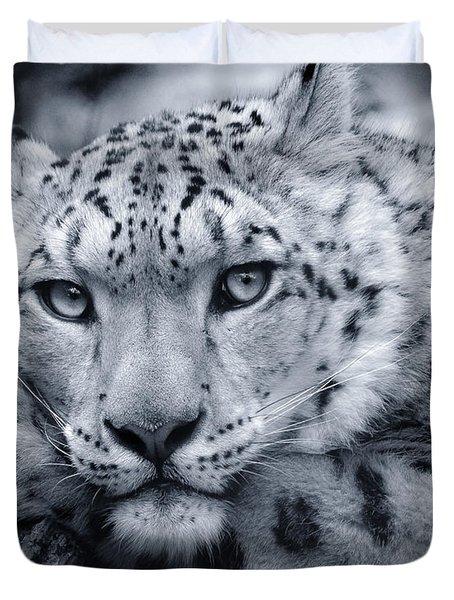 Large Snow Leopard Portrait Duvet Cover by Chris Boulton