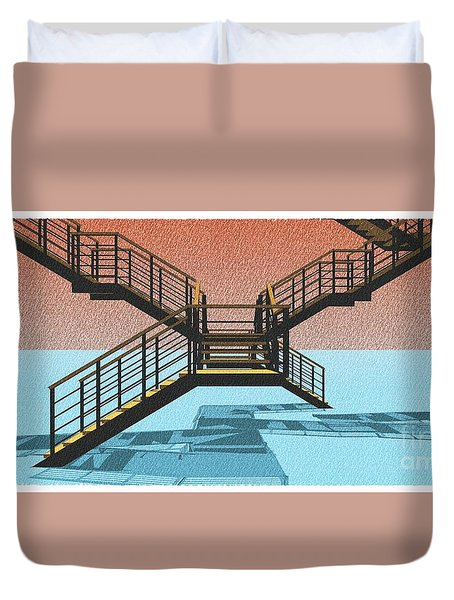 Large Stair 38 On Cyan And Strange Red Background Abstract Arhitecture Duvet Cover by Pablo Franchi