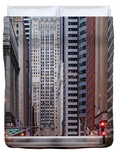 Lasalle Street Canyon With Chicago Board Of Trade Building At The South Side II - Chicago Illinois Duvet Cover by Silvio Ligutti
