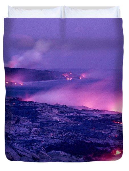 Lava Flows To The Sea Duvet Cover by Mary Van de Ven - Printscapes