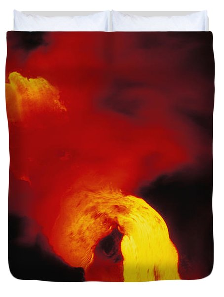 Lava Into The Sea Duvet Cover by Allan Seiden - Printscapes
