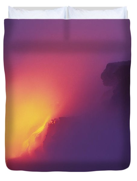 Lava Meets The Sea Duvet Cover by William Waterfall - Printscapes
