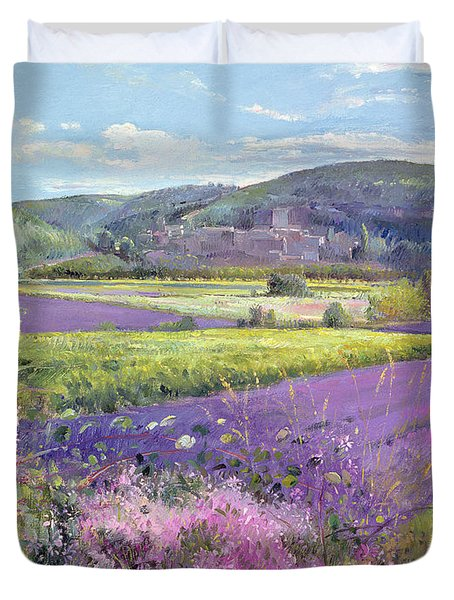 Lavender Fields In Old Provence Duvet Cover by Timothy Easton