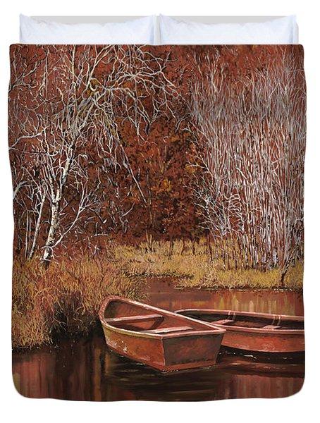 le barche sullo stagno Duvet Cover by Guido Borelli