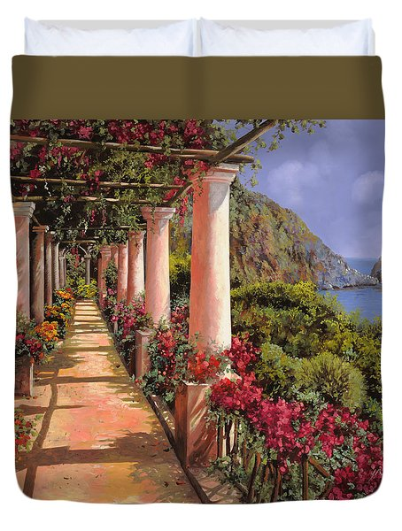 le colonne e la buganville Duvet Cover by Guido Borelli