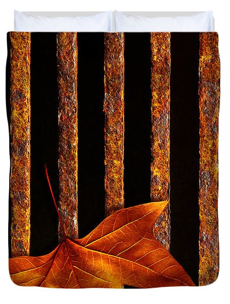 Leaf in drain Duvet Cover by Carlos Caetano