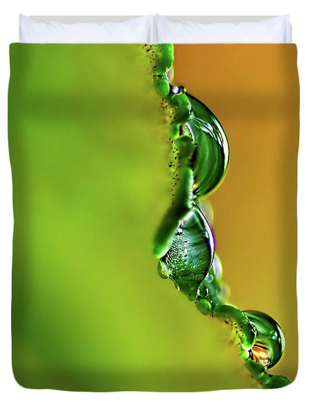 Leaf Profile And Water Droplets Duvet Cover by Kaye Menner
