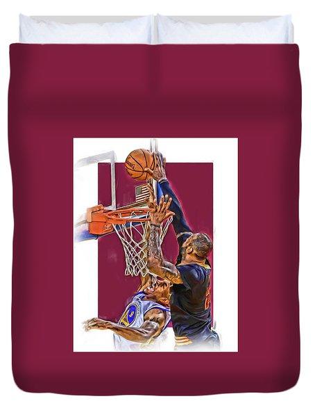 Lebron James Cleveland Cavaliers Oil Art Duvet Cover by Joe Hamilton