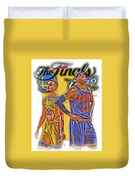 Lebron James Stephen Curry The Finals Duvet Cover by Joe Hamilton