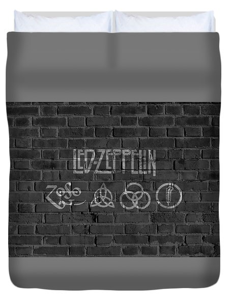 Led Zeppelin Brick Wall Duvet Cover by Dan Sproul