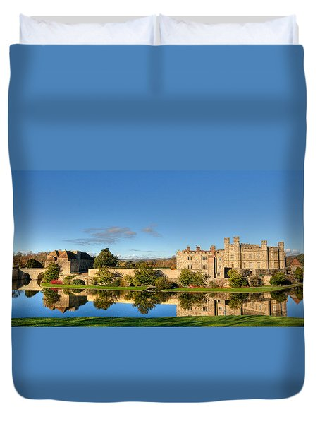 Leeds Castle And Moat Reflections Duvet Cover by Chris Thaxter