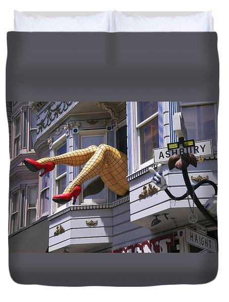 Legs In Window Sf Duvet Cover by Garry Gay
