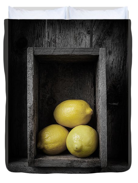 Lemons Still Life Duvet Cover by Edward Fielding