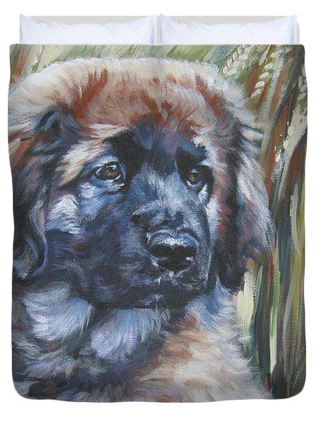 Leonberger Pup Duvet Cover by Lee Ann Shepard