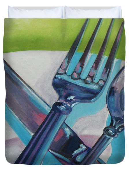 Let's Eat Duvet Cover by Donna Tuten