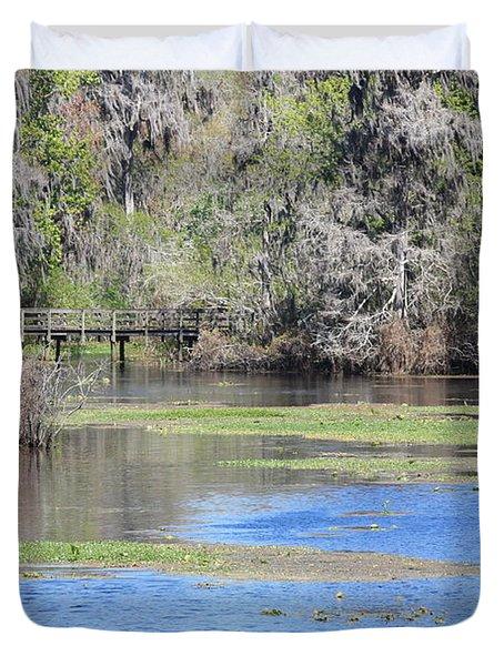 Lettuce Lake With Bridge Duvet Cover by Carol Groenen