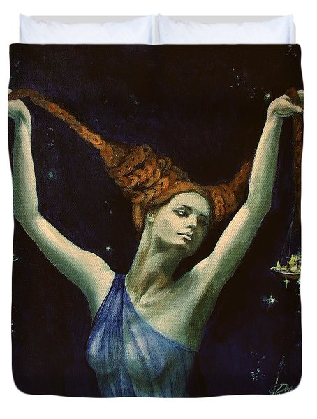 Libra From Zodiac Series Duvet Cover by Dorina  Costras