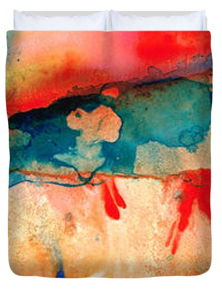 Life Eternal Red And Green Abstract Duvet Cover by Sharon Cummings