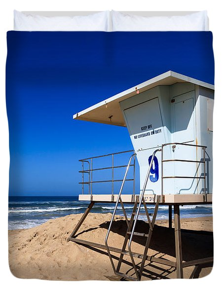 Lifeguard Tower Photo Duvet Cover by Paul Velgos