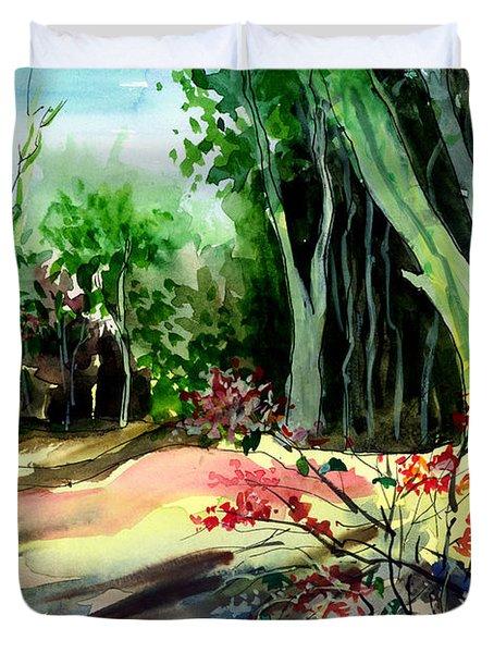 Light In The Woods Duvet Cover by Anil Nene