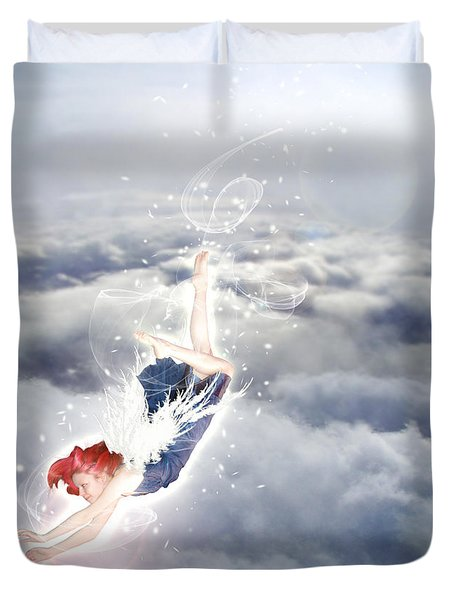 Light Play Angels Descent Duvet Cover by Nikki Marie Smith